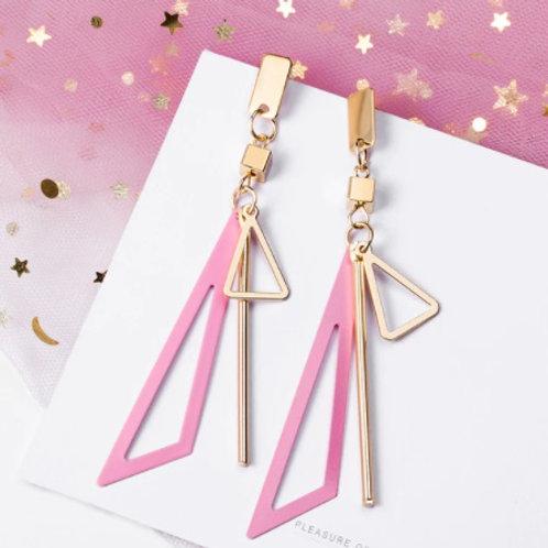 Stunning Korean Sweet Long Pink Earrings