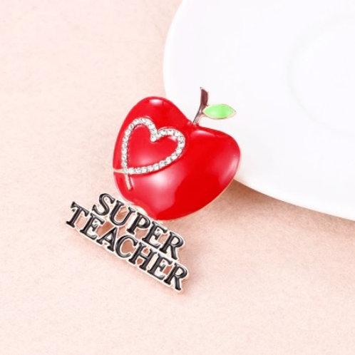 Elegant Brooch - Red Enameled Apple Super Teacher