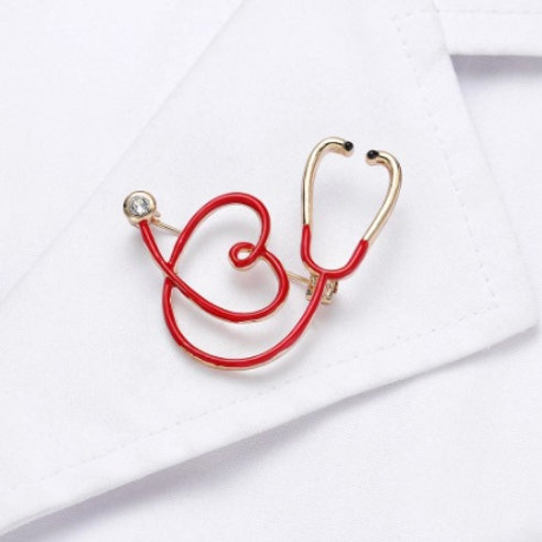 Elegant Brooch - Heart-shaped Medical Stethoscope