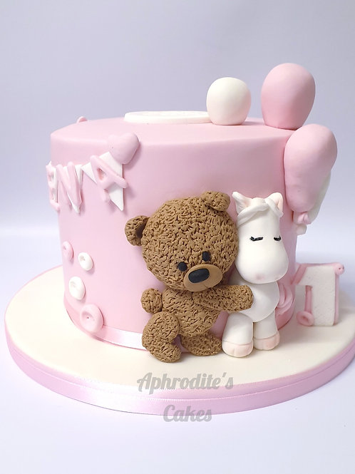 Teddy Bear and Balloons Fondant Pink/Blue Cake 6'' 6-14portions