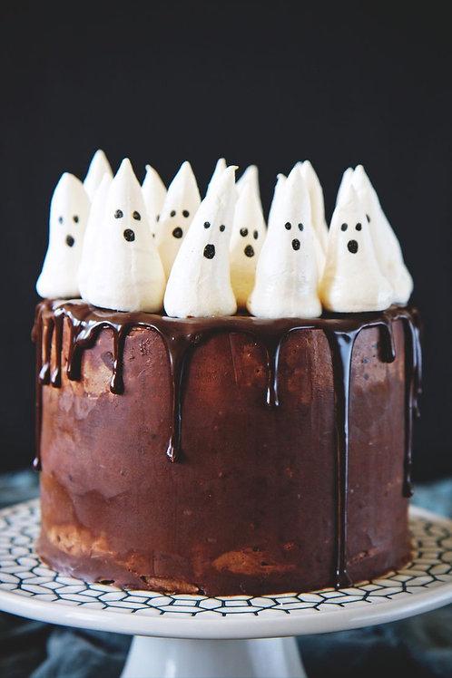 Halloween Spooky Marshmallow Ghosts Cake  6'' 6-12ppl