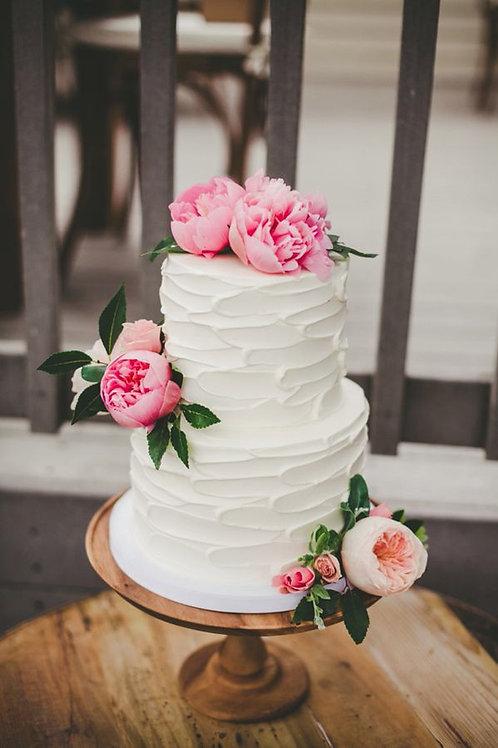 Two Tier White Wedding Cake 6''& 8''-53ppl