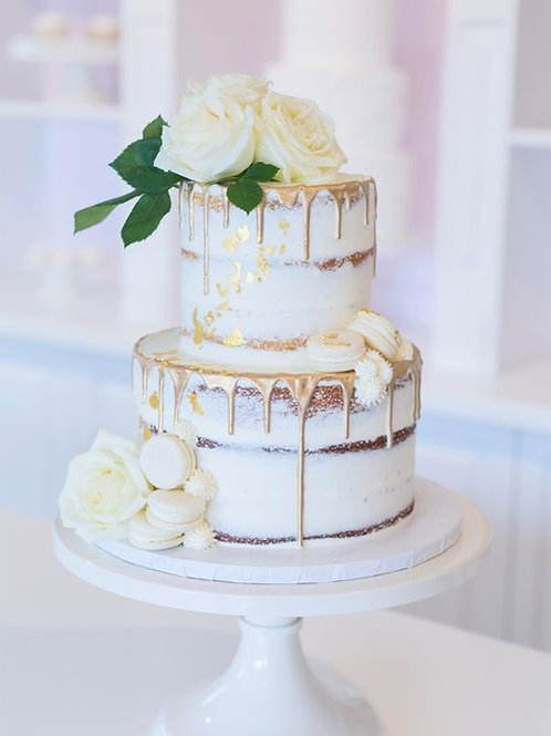 Two Tier White Wedding Cake Macarons 6''& 8''-53ppl