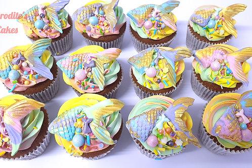 6 Mermaid Rainbow Cupcakes Vanilla/Chocolate