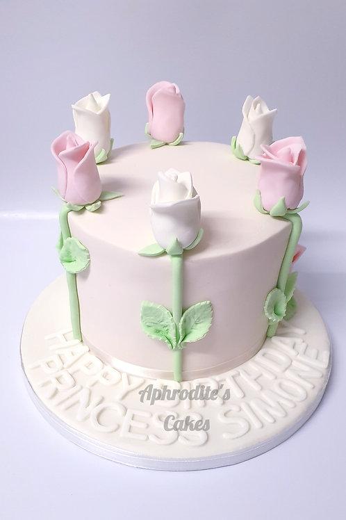 White&Pink Roses Fondant Sugarpaste Cake 6'' 6-14portions