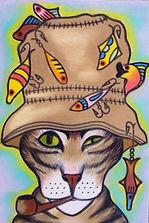 cat portrait in a fishing hat