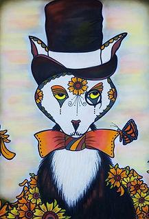 tuxedo cat painting