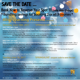 Save the Date ... Alive Learning's Spring Courses .... Save by bundling aka bulk sale