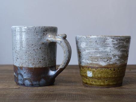陶芸作家 南雲英則さん[吉兵衛窯]とつくった陶器のコーヒーマグとフリーカップ