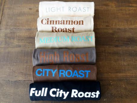 コーヒー焙煎6段階 をモチーフにした「ロースターTシャツ」つくりました