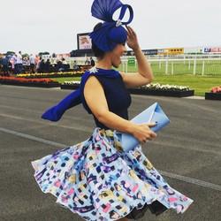 Having fun at the races #downroyal #handmade dress #sewingbee #stylish irishdesign