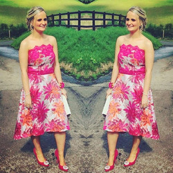 Maria in her #bespoke high low strapless floral #wedding guest gown