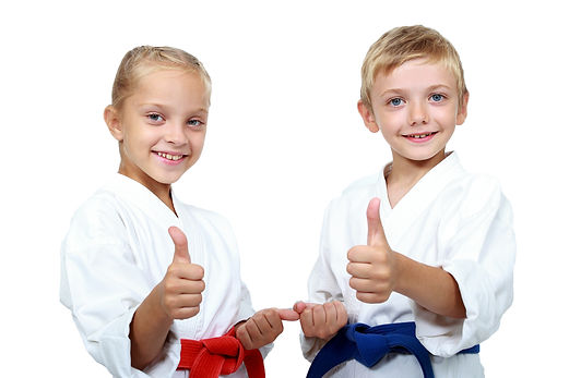 Children athletes with belts show a thumbs up.jpg