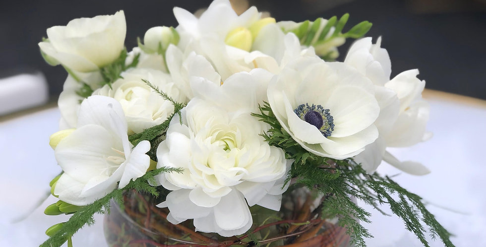 White Anemone with White Ranunculus