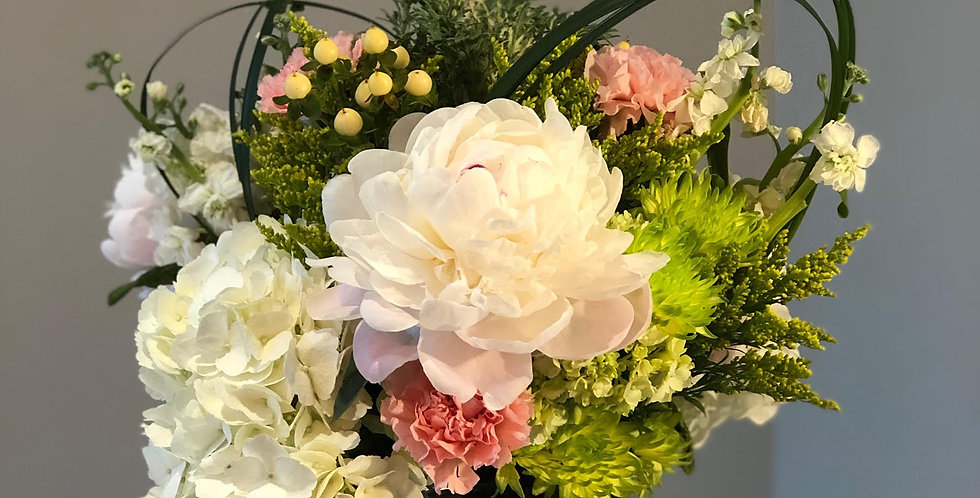 White Hydrangeas, White Peonies and Green Spider Mums
