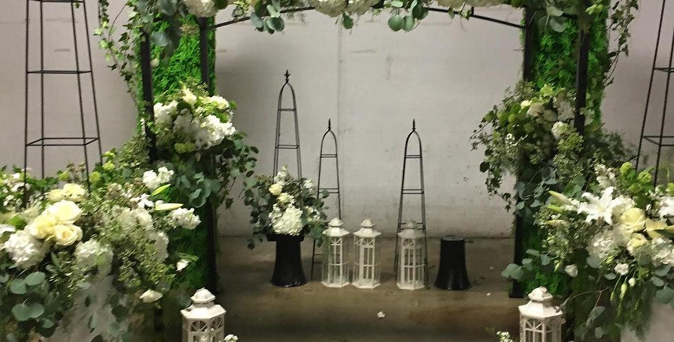 White Hydrangeas and Garden Roses