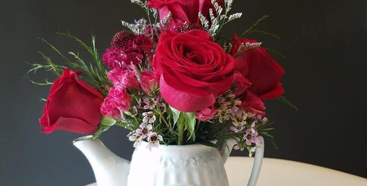 Red Roses, Wax Flowers and Sage