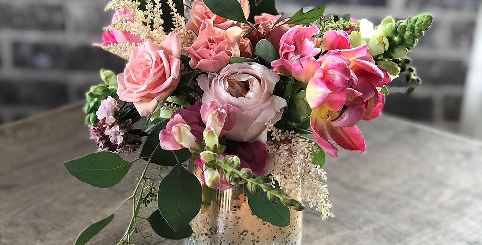 Pink Rose and Eucalyptus with Stock Flower