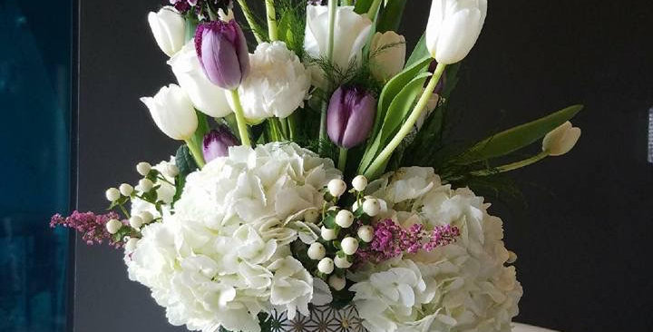 White Hydrangeas with Purple and White Tulips