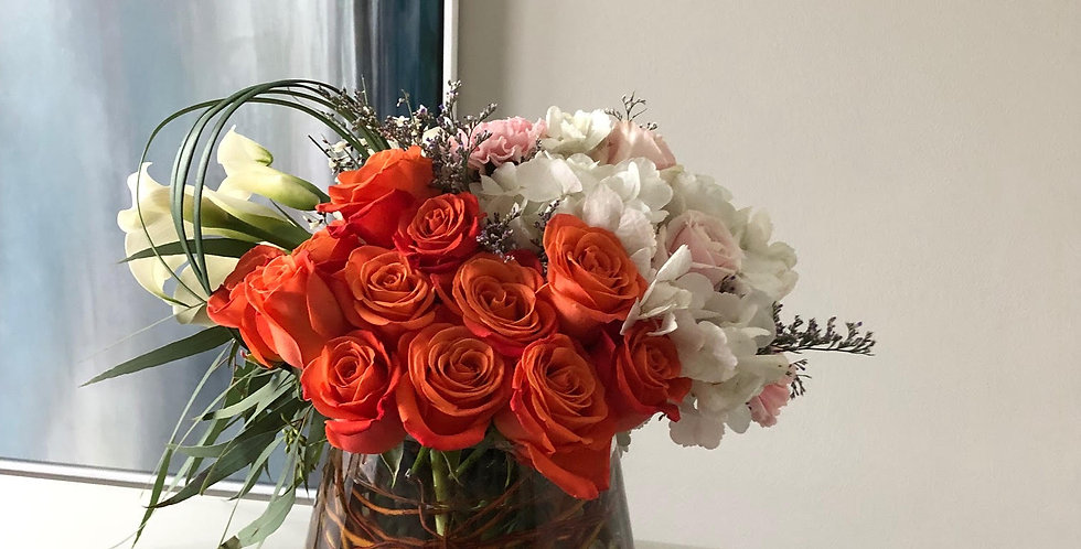 Orange Roses and White Hydrangeas