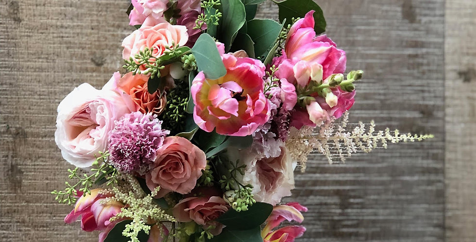 Garden Roses and Ranunculus with Stock Flowers