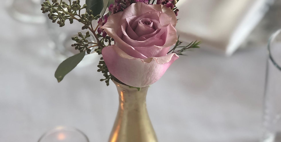 Purple Rose with Wax Flowers