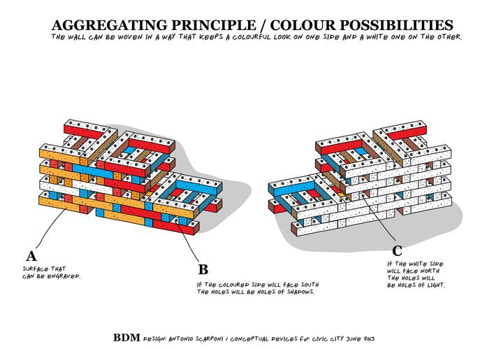 Antonio Scarponi / Conceptual Devices, Brick of Marseilles, 2013, colour possibilities.