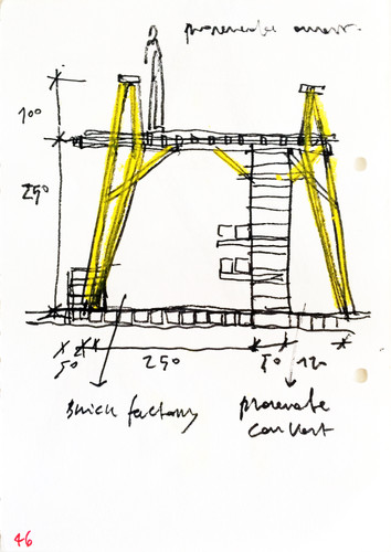 Antonio Scarponi / Conceptual Devices, Brick of Marseilles, 2013, notebook sketch, wax pastels and marker on fabriano paper.