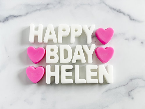 """PERSONALIZED """"Happy BDay"""" Wax Tart Melts- MORE OPTIONS AVAILABLE"""