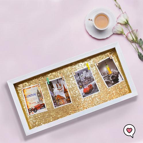 Porta Retrato de Lantejoulas com Varal de Fotos