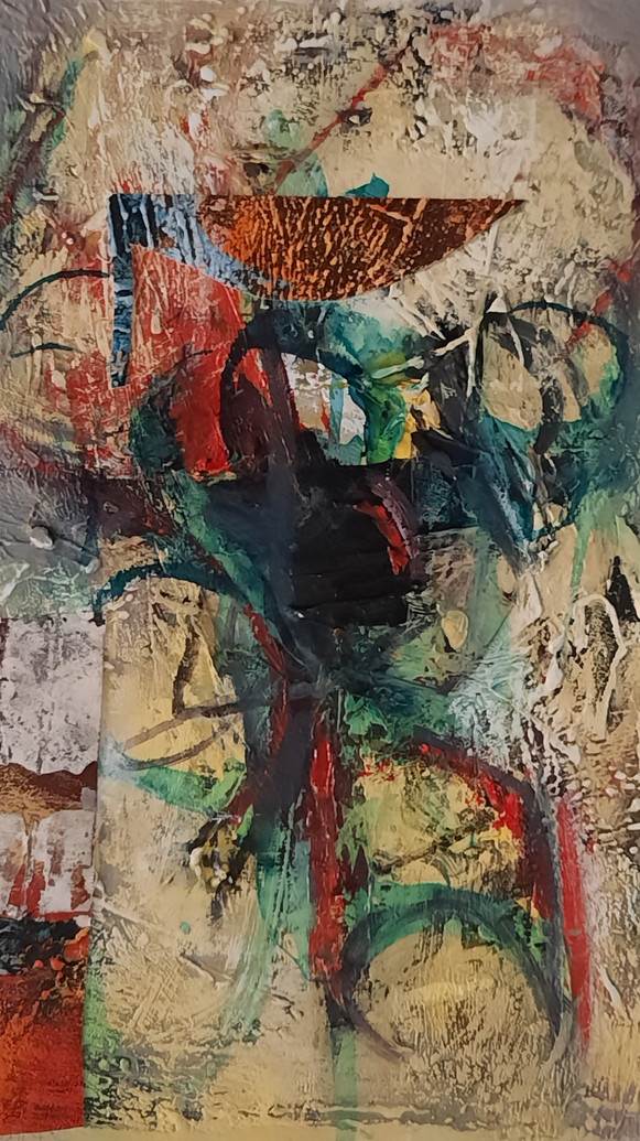 Shouldering  The burden_mixed media On C