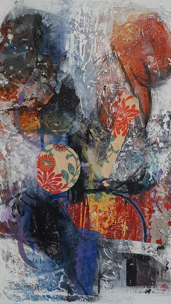 Winter Blossom_mixed media on canvas_20x
