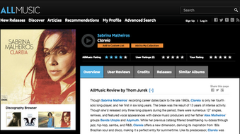 AllMusic's review of Sabrina Malheiros's Clareia!