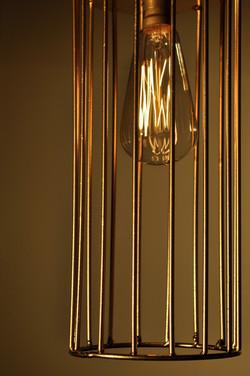 Gold Cylinder Caged Pendant