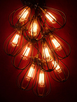 Balloon Caged Pendants - Red Lit