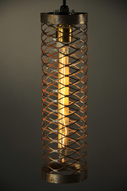 lattice caged pendants hanging on stands and group (3)