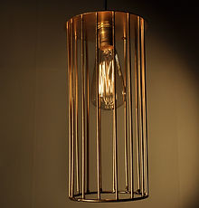 TREAD Gold Cylinder Caged Pendant