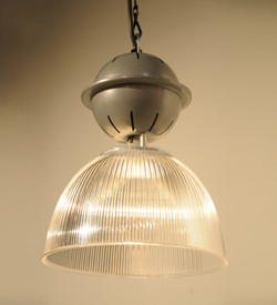 Small Ribbed Glass Factory Lights
