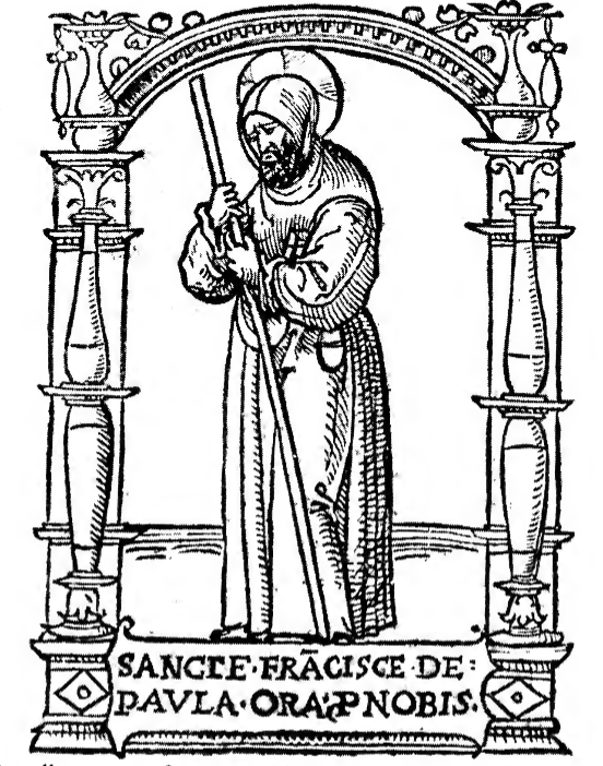 An illustration from an old book depicts the humble Saint Francis ofPaolaf who often used his miraculous immunity to fire in mundane ways. He was canonized in 1519.