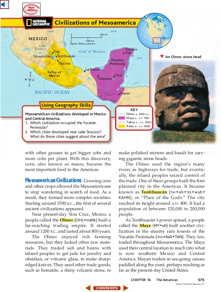 Civilizations of Mesoamerica  Explanation (from National Geographic source)