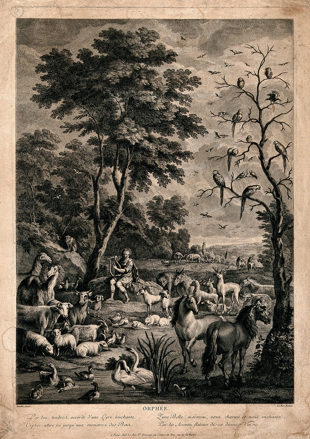 Orpheus charming the animals with music. Engraving by J.P. Le Bas after A. Hondius. Hondius, Abraham, 1625-1695. Date 1700-1799