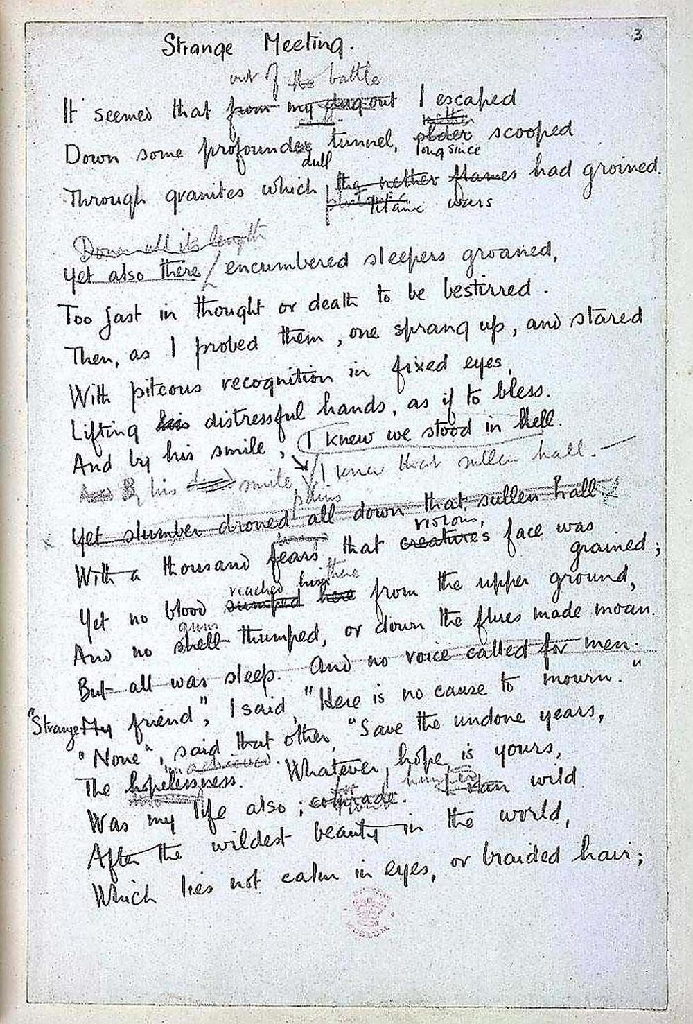 "A Draft of Wilfred Owen's ""Strange Meeting"