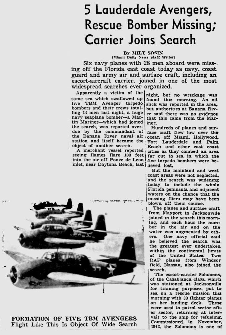 Flight 19 Newspaper reports ( photo from Charlotte Smith)