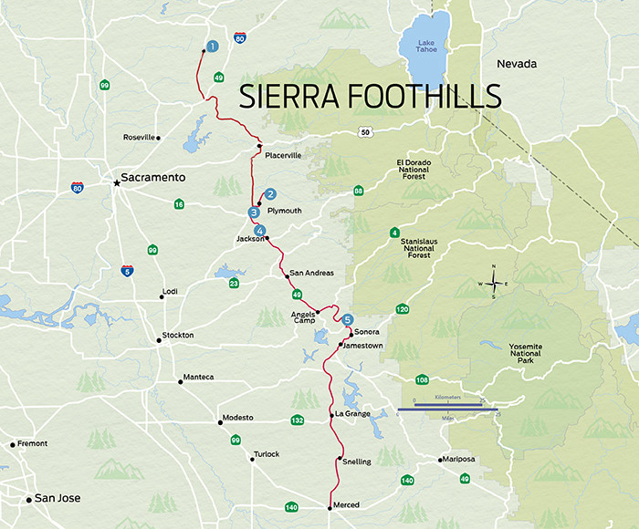 Sierra Foothills Map from Winemag