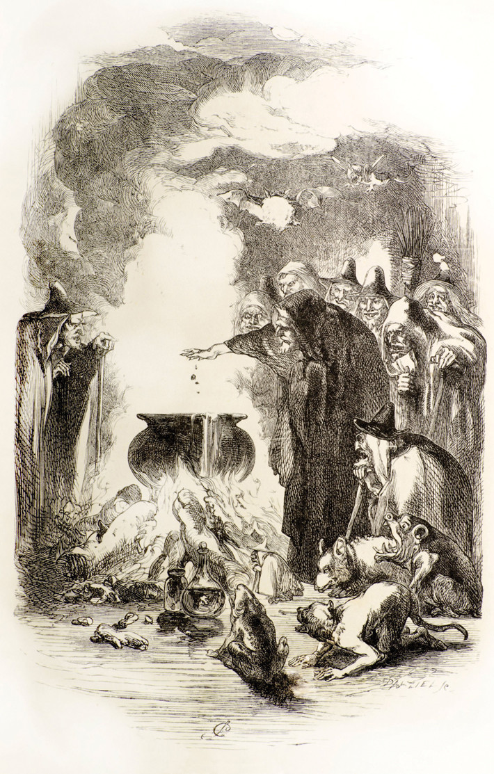 This illustration from a 19th-century novel about the Pendle witches depicts a witches' gathering like the one that allegedly occurred at Malkin Tower on April 10, 1612.