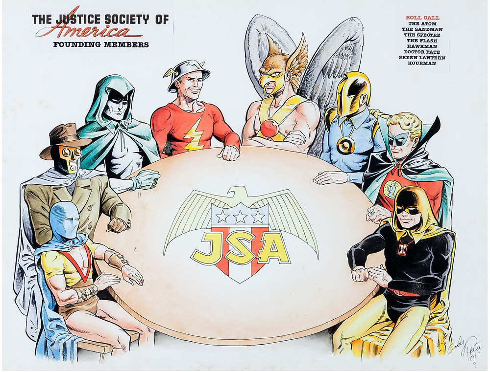 Golden Age Justice Society original founding members by Andy Price (all star comics #3 dec 1940)