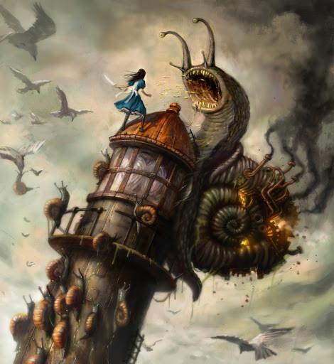 Steampunk art with Alice in Wonderland concept