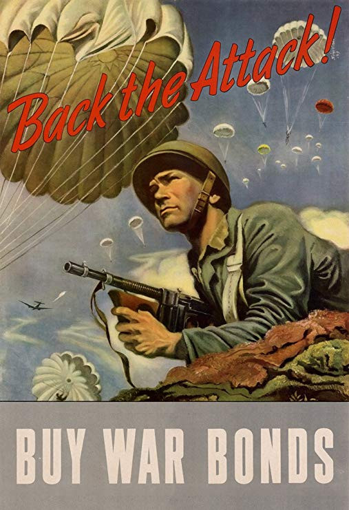 WPA War Propaganda Back The Attack Buy War Bonds WWII War Savings Motivational Cool Wall Decor Art Print Poster