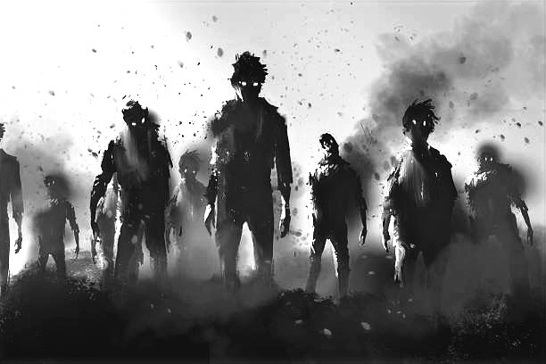 Zombie crowd walking at night,halloween concept -illustration