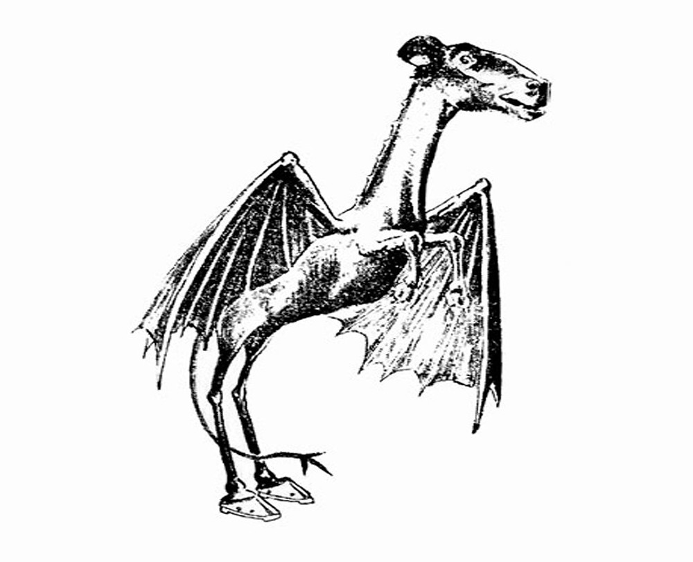 """This illustration of a """"Jersey Devil,"""" reported in 1909 by a couple living in Gloucester, New Jersey, appeared in a Philadelphia newspaper story about the sighting"""